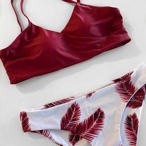Red Tropical Print Bikini